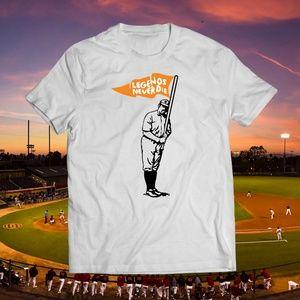 Legends Never Die White Baseball Tee